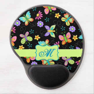 Modern Whimsy Butterflies on Black Monogram Gel Mouse Pads