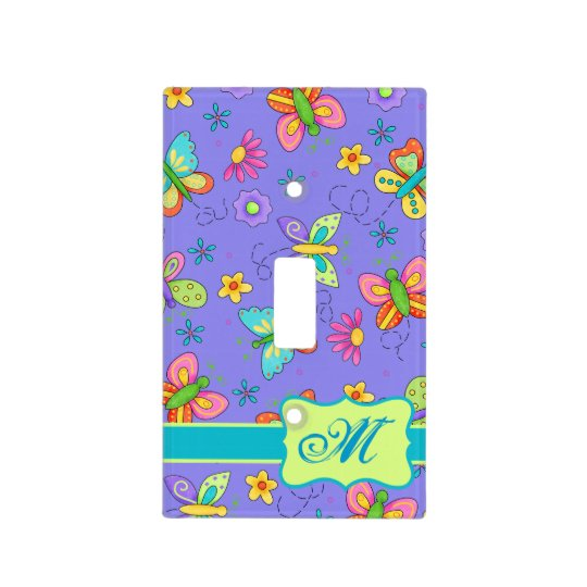 Modern Whimsy Butterflies on Purple  Monogram Light Switch Cover