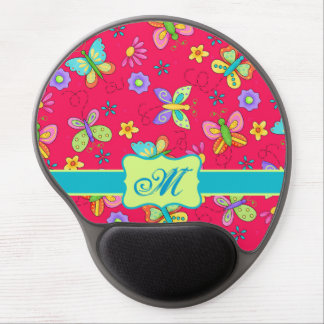Modern Whimsy Butterflies on Red Monogram Personal Gel Mouse Mat