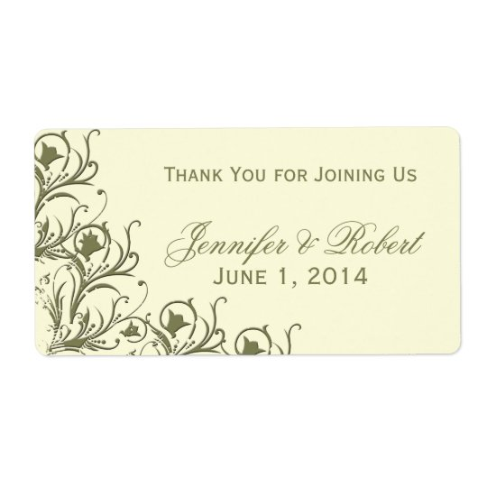 Modern Whimsy Floral Filigree Water Bottle Label