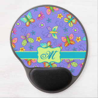 Modern Whimsy Lavender Butterfly Monogram Gel Mouse Pad