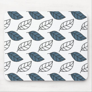 Modern Whit and Blue Leaves Pattern Mouse Pad