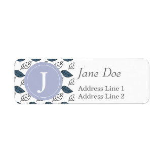 Modern Whit and Blue Leaves Pattern Return Address Label