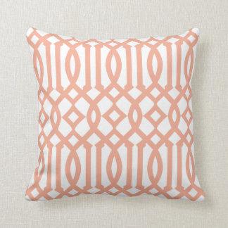 Modern White and Apricot Orange Imperial Trellis Throw Pillow