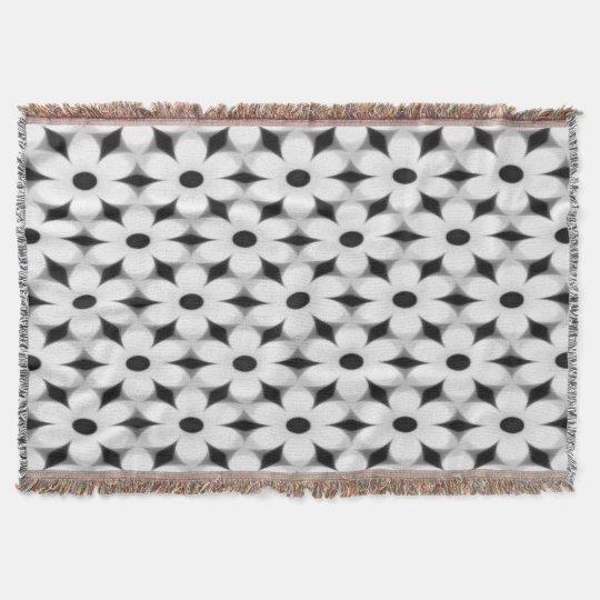 Modern White and Black Flower Pattern Throw Blanket