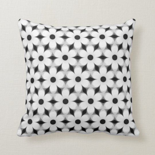 Modern White and Black Flower Pattern Throw Pillow