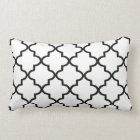 Modern White and Black Moroccan Quatrefoil Lumbar Pillow