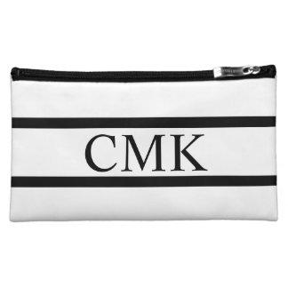 Modern White and Black Stripe Monogram Cosmetic Bag
