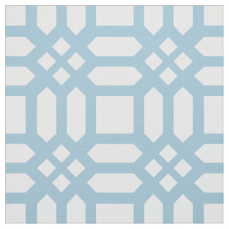 Modern White And Blue Geometric Pattern Fabric