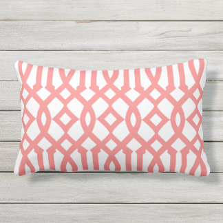 Modern White and Coral Red Imperial Trellis Outdoor Pillow
