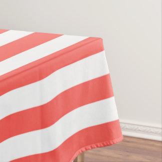 Modern White and Coral Stripes Pattern Tablecloth