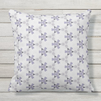 Modern White and Light Lavender Accent Pattern Outdoor Pillow