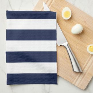 Modern White and Navy Blue Stripes Pattern Kitchen Towel