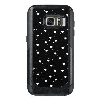 Modern White & Black Hearts Pattern OtterBox Samsung Galaxy S7 Case