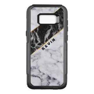 Modern White & Black Marble Geometric Design OtterBox Commuter Samsung Galaxy S8+ Case