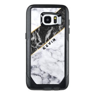 Modern White & Black Marble Geometric Design OtterBox Samsung Galaxy S7 Edge Case