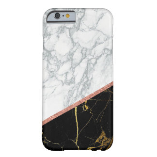 Modern white black marble pink glitter style barely there iPhone 6 case