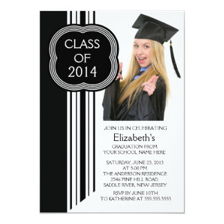 "Modern White Black Photo Graduation Party 5"" X 7"" Invitation Card"