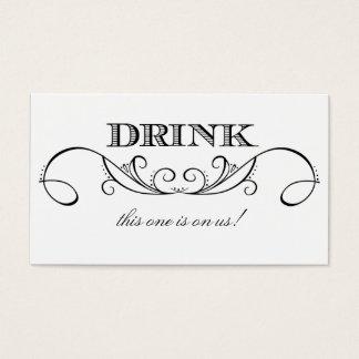 Modern White & Black Swirl Wedding Drink Ticket