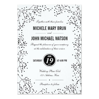 Modern White Black Wedding Invite