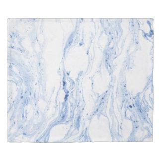 Modern White & Blue-Gray Marble Stone Print Duvet Cover