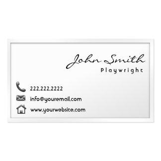Modern White Border Playwright Business Card