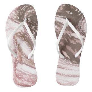 Modern_White_Brown Custom Adult, Slim Straps Flip Flops