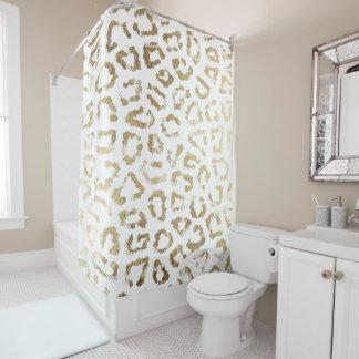 Modern white chic faux gold foil leopard print