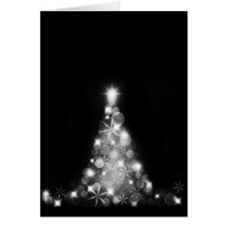 Modern White Christmas Tree on Black Greeting Card