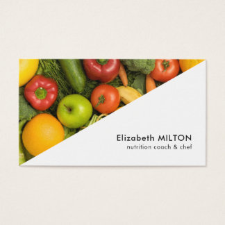 Modern White Colourful Vegetable Nutritionist Chef Business Card
