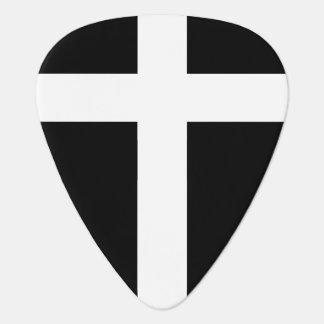 modern white cross on black guitar pick