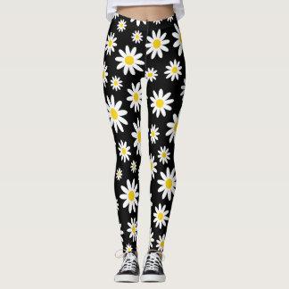 Modern White Daisy Black Pattern Leggings