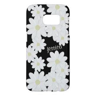 Modern White Daisy Black Samsung Galaxy S7 Case