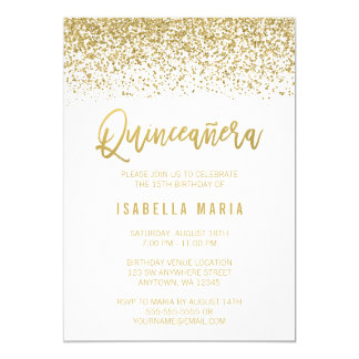 Modern White Faux Gold Glitter Quinceanera Card