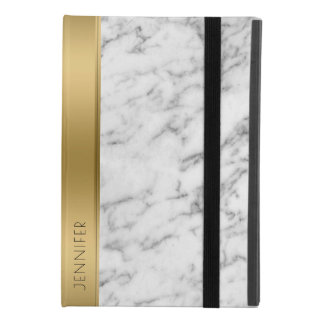 Modern White Faux Marble Gold Accent iPad Mini 4 Case