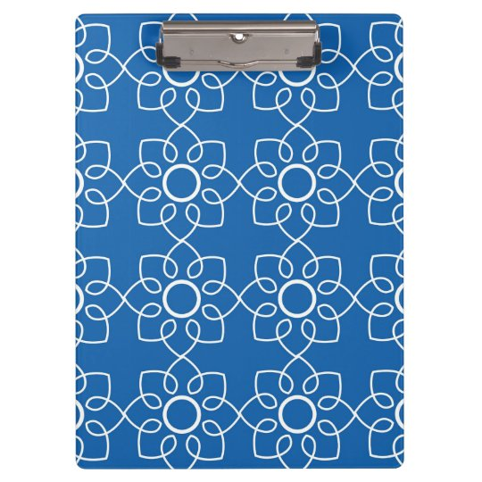 Modern White Floral Pattern On Blue Clipboards