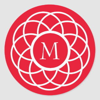 Modern White Flower on Bright Red Monogram Round Sticker