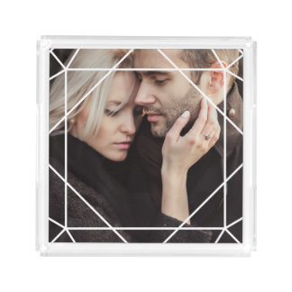 Modern White Geometric Overlay on your Photo Serving Tray