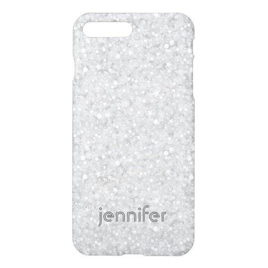 Modern White Glitter & Sparkles Pattern iPhone 8 Plus/7 Plus Case