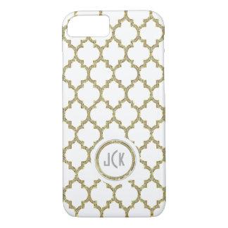 Modern White & Gold & Glitter Geometric Quatrefoil iPhone 8/7 Case