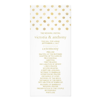 Modern White & Gold Polka Dots Wedding Program