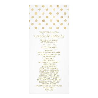 Modern White & Gold Polka Dots Wedding Program Rack Card
