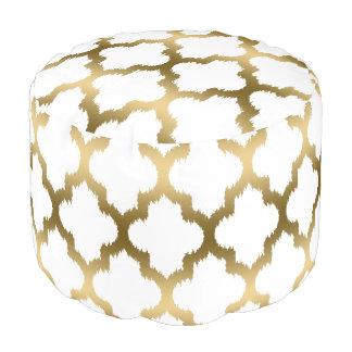 Modern White & Gold Quatrefoil Ikat Pattern Pouf