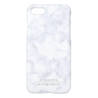 Modern White Gray Marbel with silver names iPhone 8/7 Case
