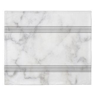 Modern White & Gray Marble & Decorative Stripes Duvet Cover