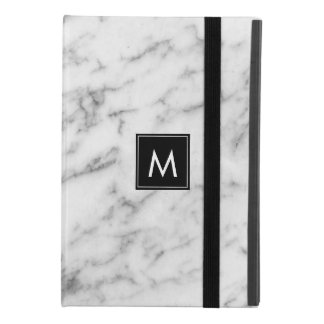 Modern White & Gray Marble Monogram iPad Mini 4 Case