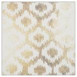 Modern white hand drawn ikat pattern faux gold fabric