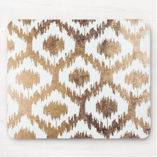 Modern white handrawn ikat pattern faux brass gold mouse pad