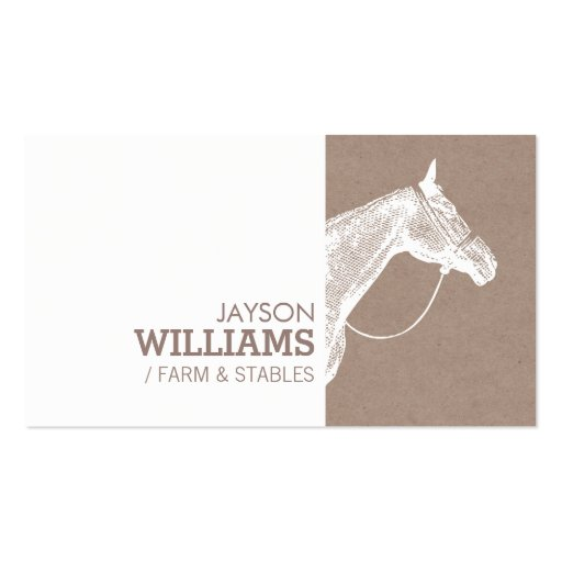Modern White Horse Screen Print for Farmers Business Card Template