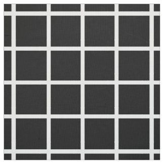 Modern White Lattice Stripes on Black Fabric